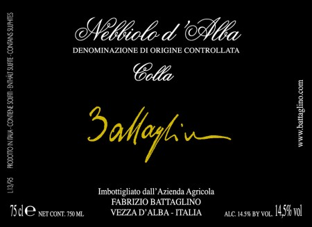 Nebbiolo d'Alba DOC Colla - Battaglino (etichetta)