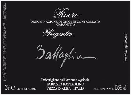 Roero DOCG Sergentin - Battaglino (etichetta)